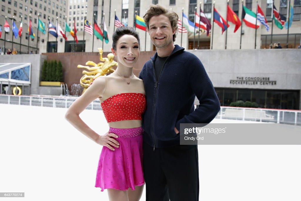 Meryl Davis & Charlie White Visit The Rink At Rockefeller Center