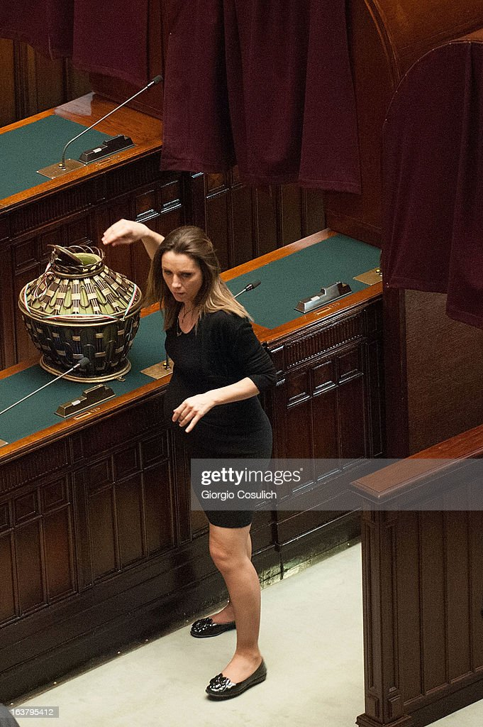 Olympic champion in fencing, Valentina Vezzali, deputy for 'Scelta Civica', votes pregnant during the second meeting at the Chambers of Deputy on March 16, 2013 in Rome, Italy. The new Italian parliament, which opens the 17th Legislature, has the task of electing the President of the House of Parliament and of the Senate, before giving way to a new government.