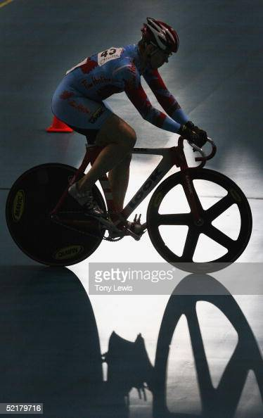 Olympic champion LoriAnne Munzer of Canada warms up on day 5 of the Australian track championships at the Adelaide Superdrome in Adelaide Australia...