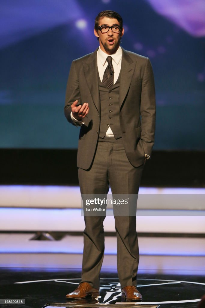 Olympic champion Michael Phelps on stage to announce the winner for 'Laureus World Action Sportsperson of the Year' during the awards show for the 2013 Laureus World Sports Awards at the Theatro Municipal Do Rio de Janeiro on March 11, 2013 in Rio de Janeiro, Brazil.