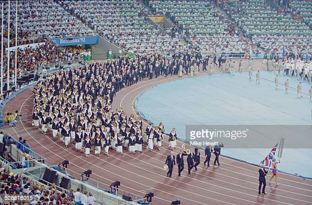 Olympic champion rower Steve Redgrave carries the flag for the British team during the opening ceremony of the XXV Olympic Summer Games 25th July...