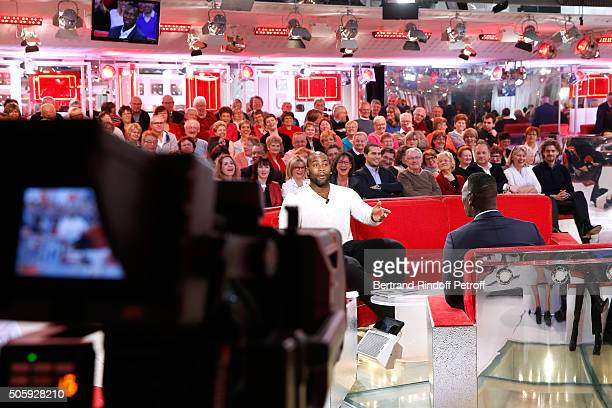 Olympic Champion Teddy Riner and Main guest of the show Actor Omar Sy attend the 'Vivement Dimanche' French TV Show at Pavillon Gabriel on January 20...
