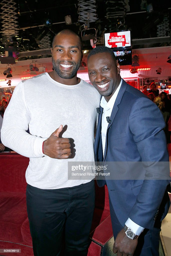 Olympic Champion Teddy Riner and Main guest of the show, Actor Omar Sy attend the 'Vivement Dimanche' French TV Show at Pavillon Gabriel on January 20, 2016 in Paris, France.