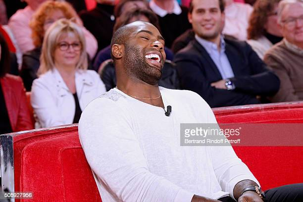 Olympic Champion Teddy Riner attends the 'Vivement Dimanche' French TV Show at Pavillon Gabriel on January 20 2016 in Paris France