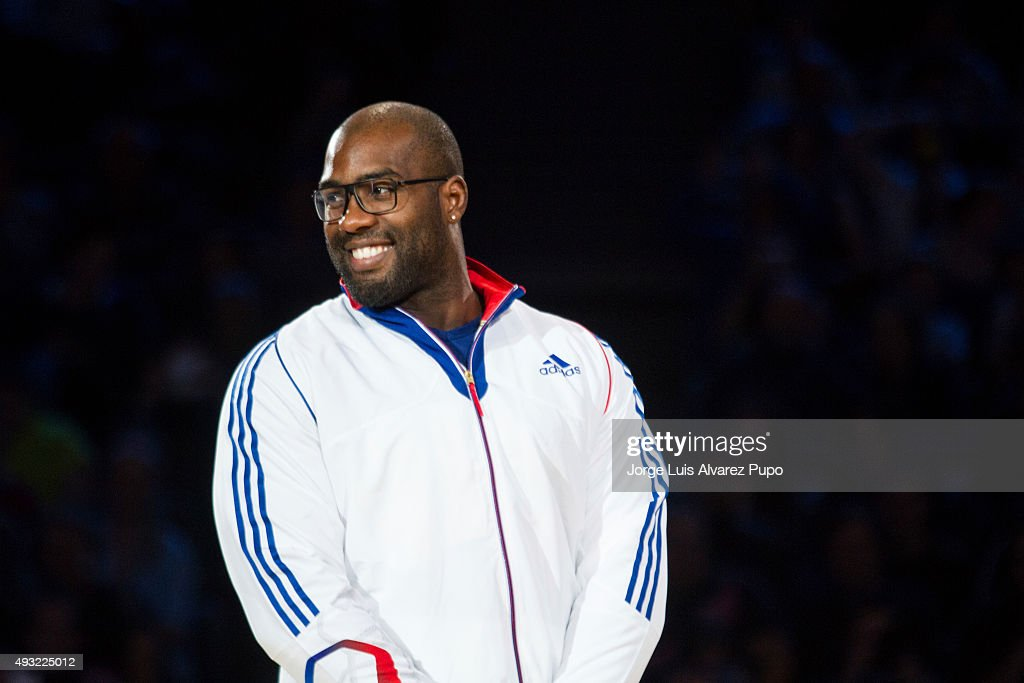 Olympic Champion <a gi-track='captionPersonalityLinkClicked' href=/galleries/search?phrase=Teddy+Riner&family=editorial&specificpeople=4114927 ng-click='$event.stopPropagation()'>Teddy Riner</a> of France smiles during the Paris Grand Slam 2015 at the Palais Omnisports de Paris-Bercy on October 18, 2015 in Paris, France.