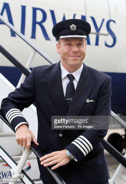 Olympic cycling champion Sir Chris Hoy launches the BA Great Britons programme at the British Airways Engineering Base at Heathrow Airport