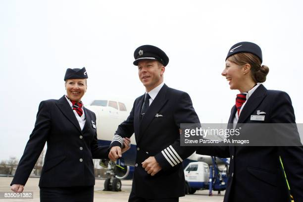 Olympic cycling champion Sir Chris Hoy with Jayne Deasy and Julie Driffield launch the BA Great Britons programme at the British Airways Engineering...