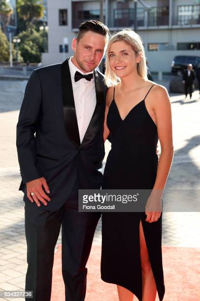 Olympic cyclist Eddie Dawkins and partner arrive at the 54th Halberg Awards at Vector Arena on February 9 2017 in Auckland New Zealand