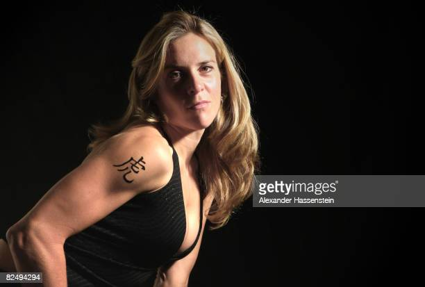 Olympic cyclist Hanka Kupfernagel is seen with her Chinese Zodiac sign Tiger during a photo session on May 6 2008 in Freiburg Germany