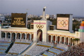AN OVERVIEW OF THE OPENING CEREMONY AT THE LOS ANGELES COLISEUM DURING THE LIGHTING OF THE OLYMPIC FLAME OF THE 1984 SUMMER OLYMPICS