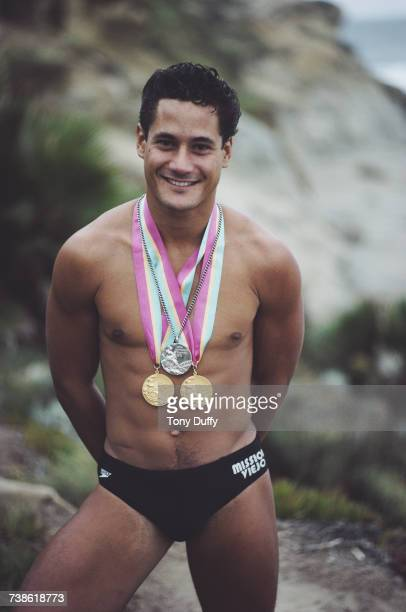 Olympic diver Greg Louganis of the United States poses for a portrait with his two Olympic Gold medals on 1 September1984 in Los Angeles California...