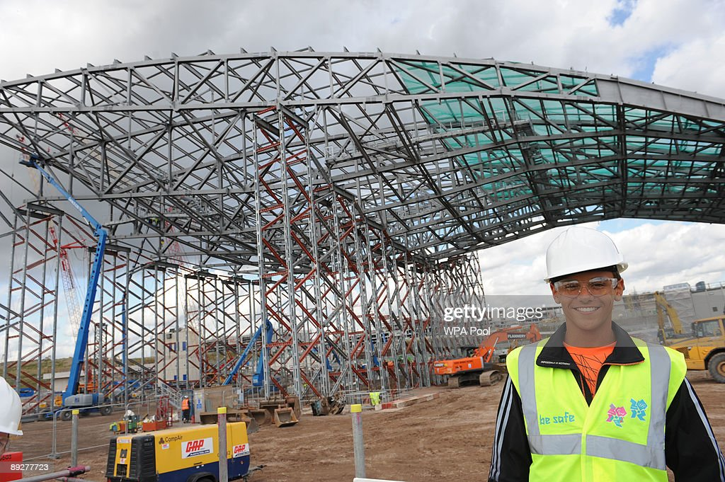 Olympic diver Tom Daley sees for the first time the Aquatic Centre where he will be competing in the 2012 Olympic Games during a visit to the 2012...