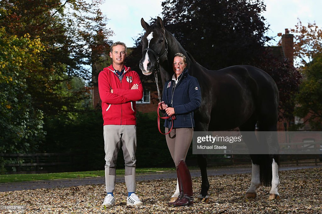 Olympic Dressage Gold Medalists <a gi-track='captionPersonalityLinkClicked' href=/galleries/search?phrase=Charlotte+Dujardin&family=editorial&specificpeople=5426239 ng-click='$event.stopPropagation()'>Charlotte Dujardin</a> (R) with her horse Valegro and <a gi-track='captionPersonalityLinkClicked' href=/galleries/search?phrase=Carl+Hester&family=editorial&specificpeople=2298469 ng-click='$event.stopPropagation()'>Carl Hester</a> (L) pose for a portrait at Oaklebrook Mill on October 18, 2012 in Newent, England.