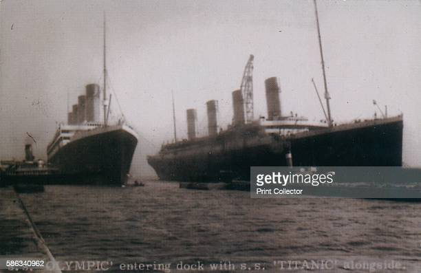 'SS 'Olympic' entering dock with SS 'Titanic' alongside' Belfast 2 March 1912 Titanic is under construction whilst the Olympic has been brought into...