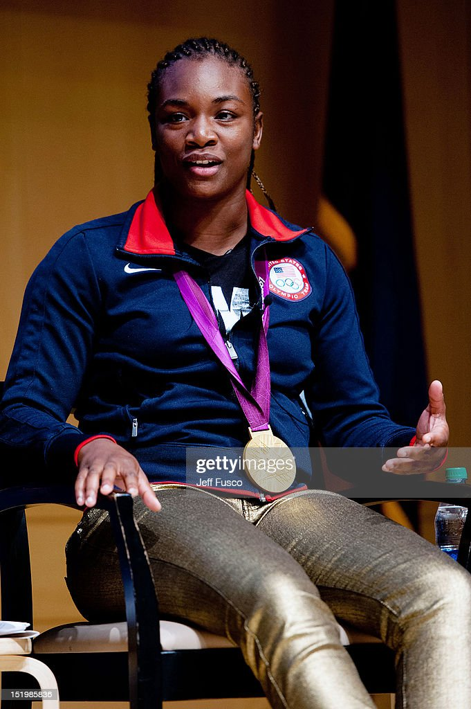 U.S. Olympic Female Boxing Gold Medalist <a gi-track='captionPersonalityLinkClicked' href=/galleries/search?phrase=Claressa+Shields&family=editorial&specificpeople=8936937 ng-click='$event.stopPropagation()'>Claressa Shields</a> takes part in a panel discussion prior to the 2012 Liberty Medal Ceremony at the National Constitution Center on September 13, 2012 in Philadelphia, Pennsylvania.