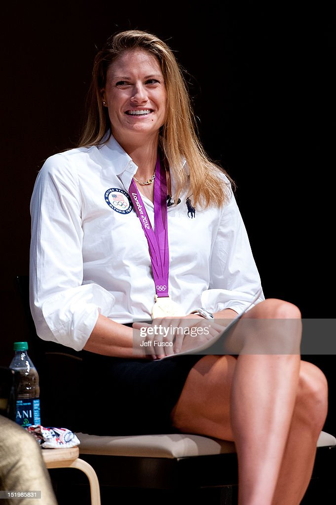 U.S. Olympic Female Rowing Gold Medalist <a gi-track='captionPersonalityLinkClicked' href=/galleries/search?phrase=Susan+Francia&family=editorial&specificpeople=761226 ng-click='$event.stopPropagation()'>Susan Francia</a> takes part in a panel discussion prior to the 2012 Liberty Medal Ceremony at the National Constitution Center on September 13, 2012 in Philadelphia, Pennsylvania.