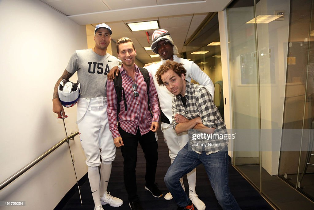 Olympic fencer Miles Chamley-Watson and recording artist/producer Lance Bass Invade 'The Whoolywood Shuffle' with hosts DJ Whoo Kid and Sam Roberts at SiriusXM Studios on October 7, 2015, in New York City.