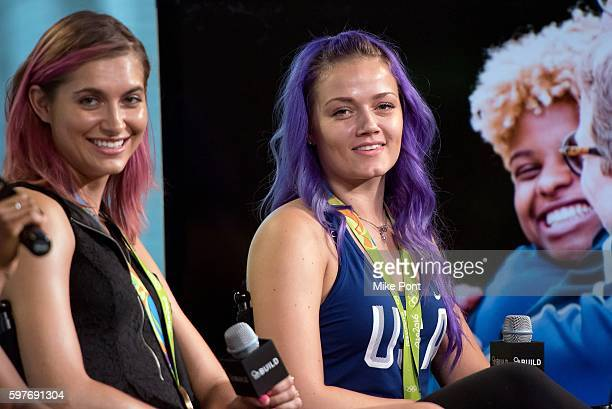 Olympic fencers Monica Aksamit and Dagmara Wozniak attend the AOL Build Speaker Series to discuss 2016 Rio Olympic Fencing at AOL HQ on August 29...
