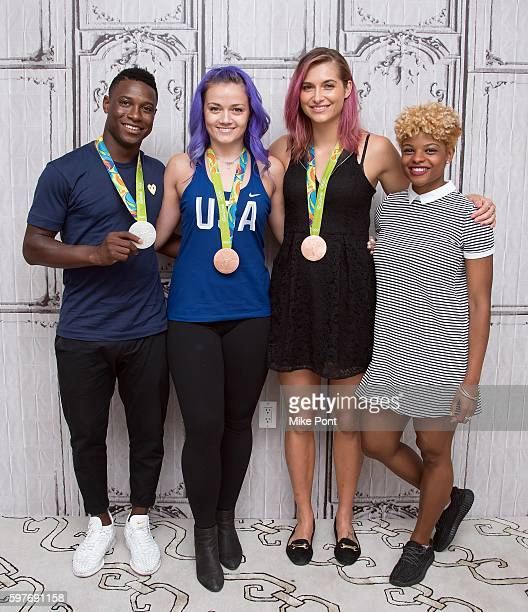 Olympic fencing team members Daryl Homer Dagmara Wozniak Monica Aksamit and Nzingha Prescod attend the AOL Build Speaker Series to discuss 2016 Rio...
