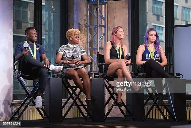 Olympic fencing team members Daryl Homer Nzingha Prescod Monica Aksamit and Dagmara Wozniak attend the AOL Build Speaker Series to discuss 2016 Rio...