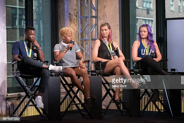 Olympic fencing team members Daryl Homer Nzingha Prescod Monica Aksamit and Dagmara Wozniak attend the AOL Build Speaker Series to discuss 2016 Rio...