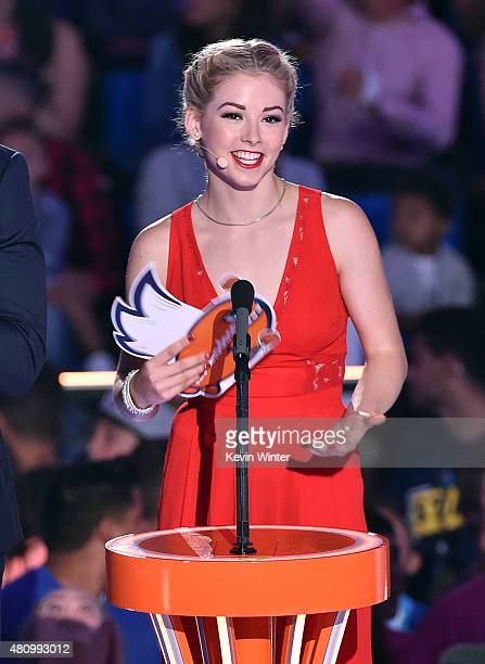 S Olympic figure skater Gracie Gold speaks onstage at the Nickelodeon Kids' Choice Sports Awards 2015 at UCLA's Pauley Pavilion on July 16 2015 in...