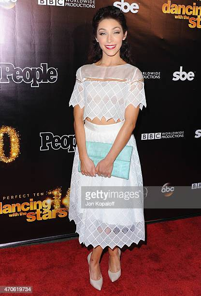 Olympic figure skater Meryl Davis arrives at the 10th Anniversary Of 'Dancing With The Stars' Party at Greystone Manor on April 21 2015 in West...