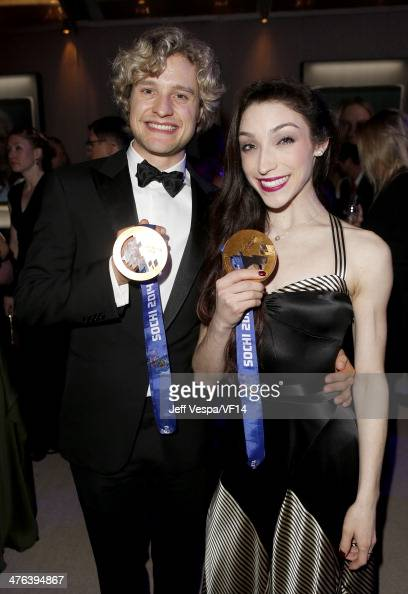 Olympic Figure Skaters Charlie White and Meryl Davis attend the 2014 Vanity Fair Oscar Party Hosted By Graydon Carter on March 2 2014 in West...