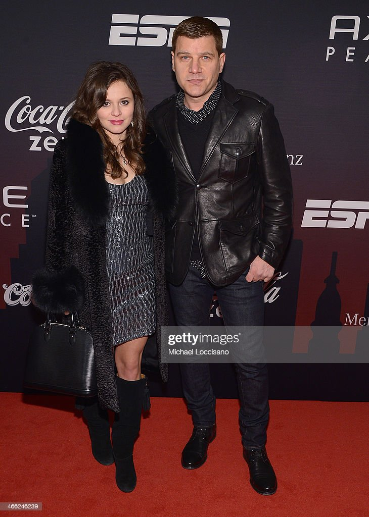 Olympic figure skating medalist Sasha Cohen and guest attend the ESPN The Party at Basketball City - Pier 36 - South Street on January 31, 2014 in New York City.