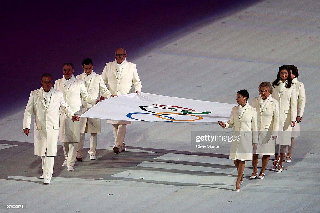 Olympic flag bearers Chulpan Khamatova Lidiya Skoblikova Anastasia Popova Valentina Tereshkova Vyacheslav Fetisov Valeriy Gergiev Alan Enileev and...