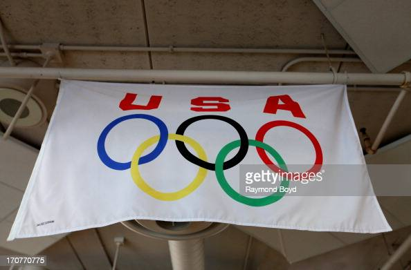 A Olympic Flag hangs inside the Pettit National Ice Center and US Olympic Training Facility lobby in Milwaukee Wisconsin on JUNE 09 2013