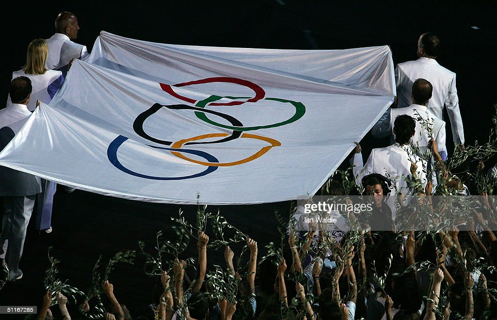Olympic flag is seen during the opening ceremony of the Athens 2004 Summer Olympic Games on August 13 2004 at the Sports Complex Olympic Stadium in...