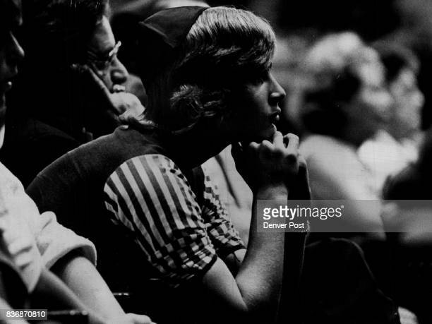 Olympic Games * 1972 * Summer Memorial Service for Israelis Held in Denver Listening At Memorial Services A young Denverarea Jew listens to the...