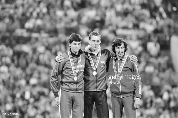Olympic Games at the Central Lenin Stadium in Moscow Soviet Union Great Britain's gold medal winner Steve Ovett stands on the podium after winning...