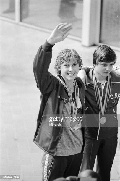 Olympic Games at the Central Lenin Stadium in Moscow Soviet Union British swimmer Sharron Davies celebrates after winning the silver medal in the...
