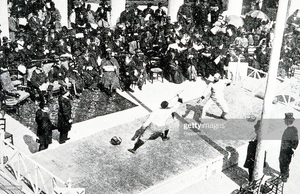 Olympic Games, Athens, Greece, Fencing, Men's individual foil, An aerial view showing two competitors in action
