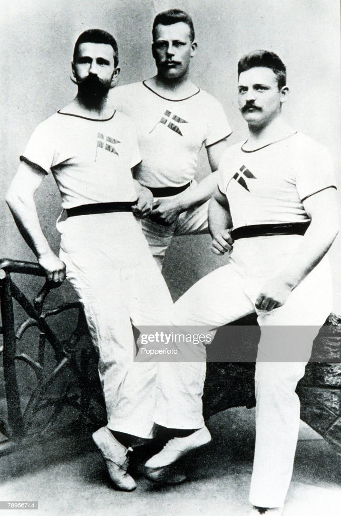 Olympic Games, Athens, Greece, Members of the Danish Olympic team L-R: Schmidt (track), Nielsen (fencing) and Jensen