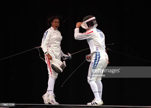 Olympic Games Atlanta USA Athletics Womens Fencing Epee French gold medal winner Laura Flessel during her bout with French silver medallist Valerie...