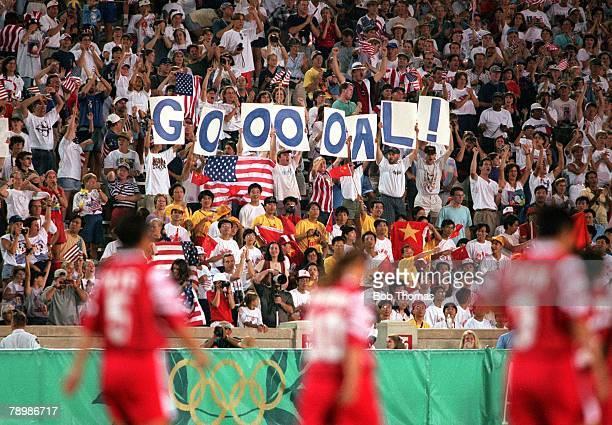 Olympic Games Atlanta USA Sanford Stadium Georgia Women's Football Gold Medal Match USA 2 v China 1 American fans celebrate their teams winning goal...