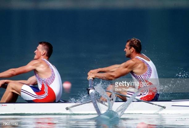 Olympic Games Barcelona Spain Men's Rowing Coxless Pairs Great Britain's Matthew Pinsent and Steven Redgrave in action to win the gold medal