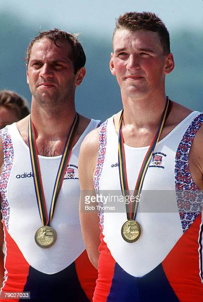 Olympic Games Barcelona Spain Men's Rowing Coxless Pairs Great Britain's gold medal winners Matthew Pinsent and Steven Redgrave stand on the podium