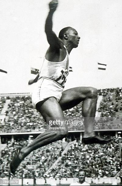 Olympic Games Berlin Germany Men's Long JumpUSA's legendary Jesse Owens in action to win one of his four gold medals