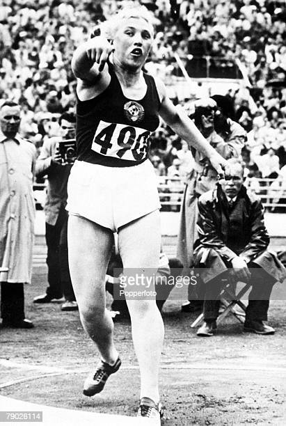 Olympic Games Helsinki Finland Women's Shot Put USSR's gold medal winner Galina Zybina in action