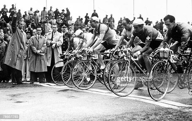 Olympic Games London England Cycling 120 Mile Race Prince Philip the Duke of Edinburgh fires the pistol to start the race