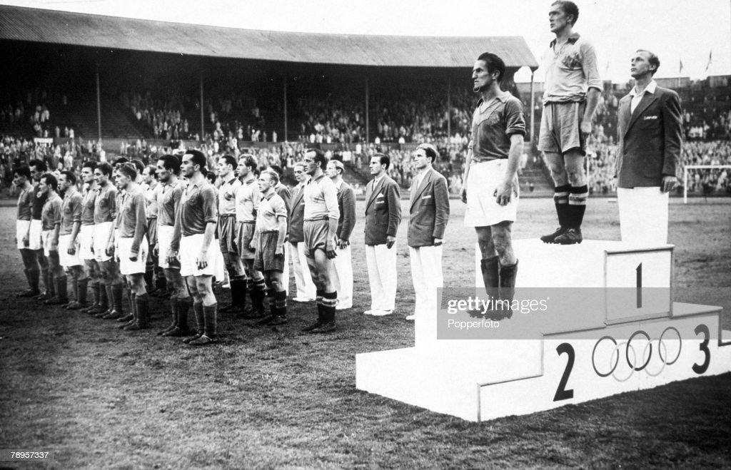 Olympic Games, London, England, Football, Medal Ceremony, Gold Medal: Sweden, Silver Medal: Yugoslavia, Bronze Medal: Denmark