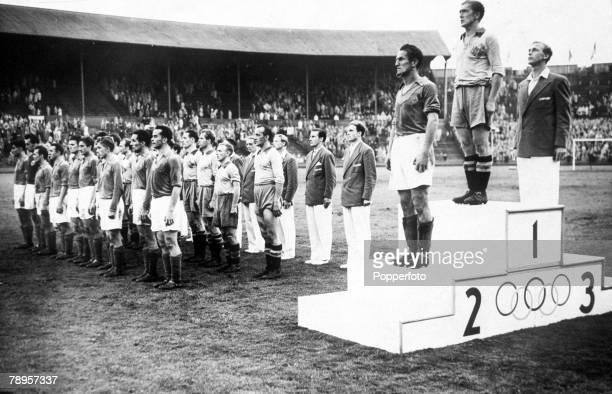 Olympic Games London England Football Medal Ceremony Gold Medal Sweden Silver Medal Yugoslavia Bronze Medal Denmark