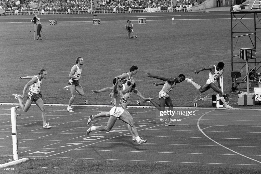 Olympic Games, Moscow, Russia, 28th July 1980, Athletics, Men's 200 Metres Final, Pietro Mennea of Italy celebrates as he wins the gold medal as Alan Wells of Great Britain takes silver and Don Quarry of Jamaica takes the bronze medal