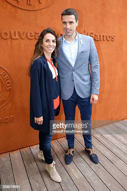 Olympic Games of Paris 2024 Canoe Olympic champion Tony Estanguet and his wife Laetitia attend Day Fourteen Women single's Final of the 2016 French...
