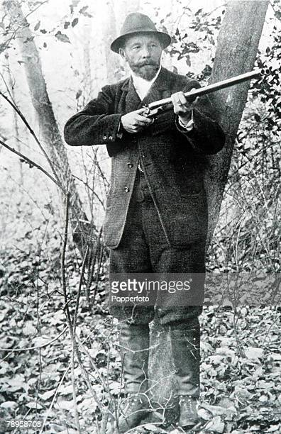 Olympic Games Paris France Pigeon Shooting Belgium's Leon De Lumden winner of the gold medal holds his rifle
