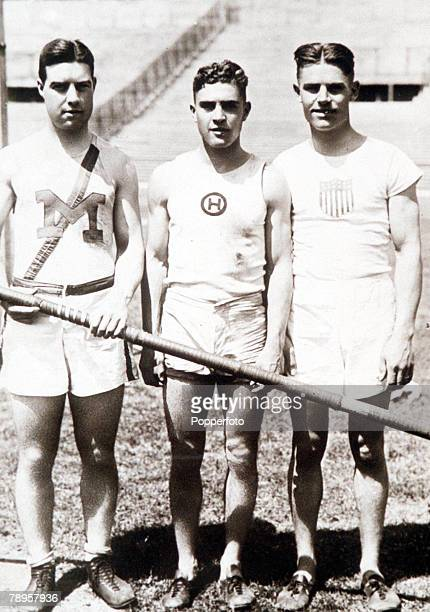 Olympic Games Paris France Pole Vault USA trio LR G Graham who took the silver medal L S Barnes who took gold and JK Brocker who won bronze